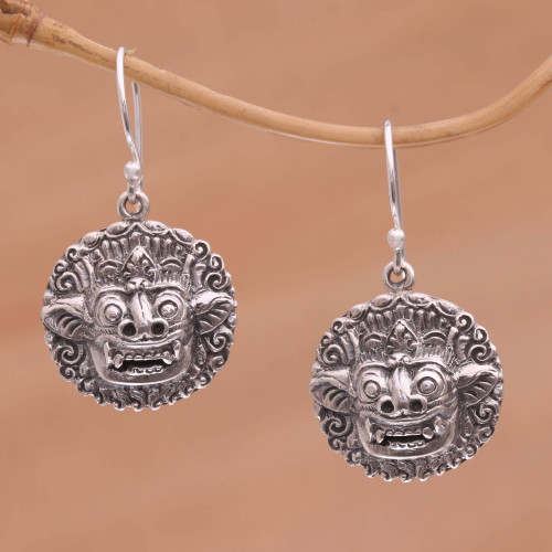 Sterling Silver Barong Guardian Spirit Dangle Earrings 'Balinese Guardian'
