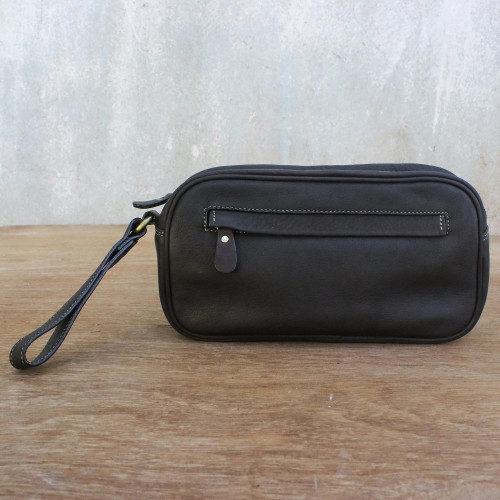 Espresso Leather Wristlet Handcrafted in Thailand 'Cool Espresso'