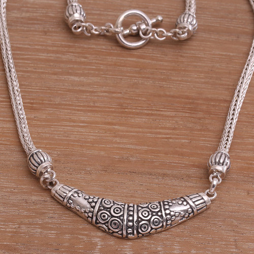 Sterling Silver Boomerang Pendant Necklace from Bali 'Dazzling Boomerang'