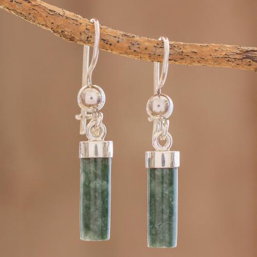 Green Jade Cylindrical Dangle Earrings from Guatemala 'Green Mayan Pillars'