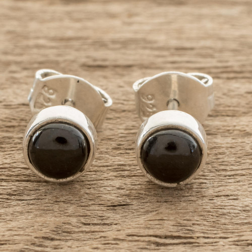 Round Black Jade Stud Earrings from Guatemala 'Round Delight'