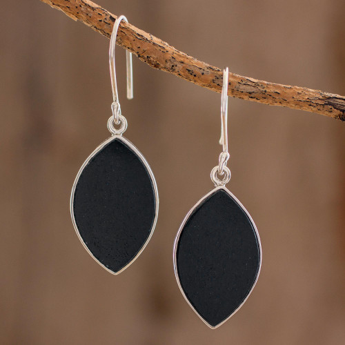Reversible Black and Light Green Jade Dangle Earrings 'Ancient Leaves'