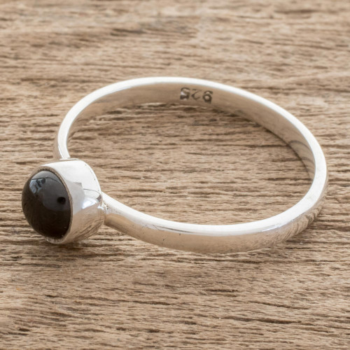 Round Black Jade Solitaire Ring from Guatemala 'Round Delight'