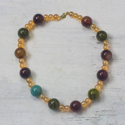 Multi-Color Recycled Glass Beaded Festive Necklace 'Sweet Festivity'