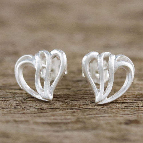 Sterling Silver Heart-Shaped Stud Earrings from Thailand 'Comforting Hearts'