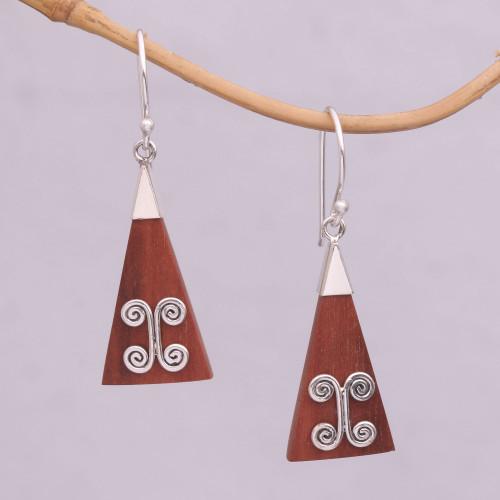Wood Triangle Sterling Silver Swirl Modern Dangle Earrings 'Reach'