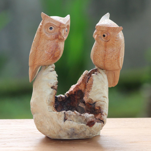 Hand-Carved Jempinis Wood Owl Couple Tree Sculpture 'Owl Lovers'