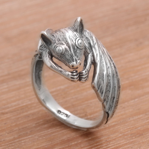 Handcrafted Sterling Silver Bat Cocktail Ring from Bali 'Beautiful Bat'