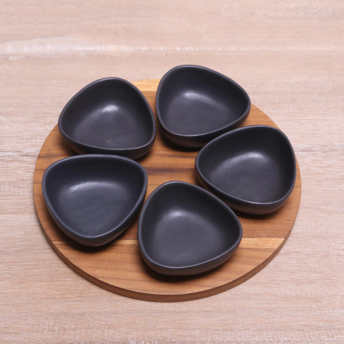 Appetizer Set with Five Black Serving Bowls and a Tray 'Charcoal Petals'