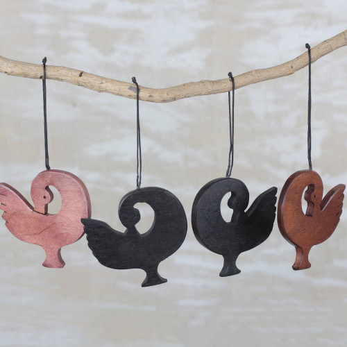 Handcrafted Ebony Wood Sankofa Ornaments Set of 4 'Learn from History'