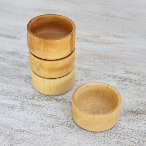 Handmade Wood Prep Bowls Set of 4 from Thailand 'Party with Friends'