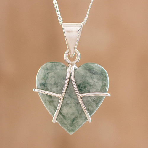 Jade and Sterling Silver Heart Pendant Necklace 'Magical Destiny'