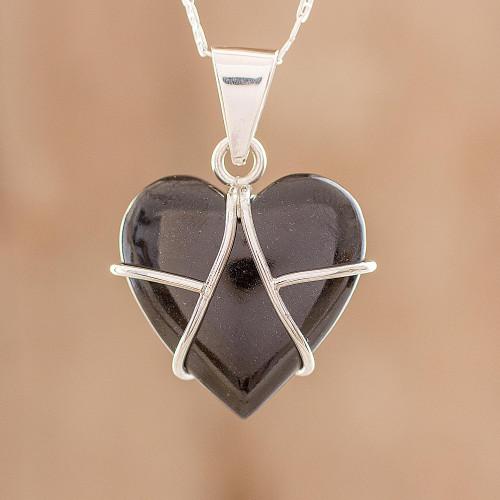 Black Jade and Sterling Silver Heart Pendant Necklace 'Inspiring Destiny'