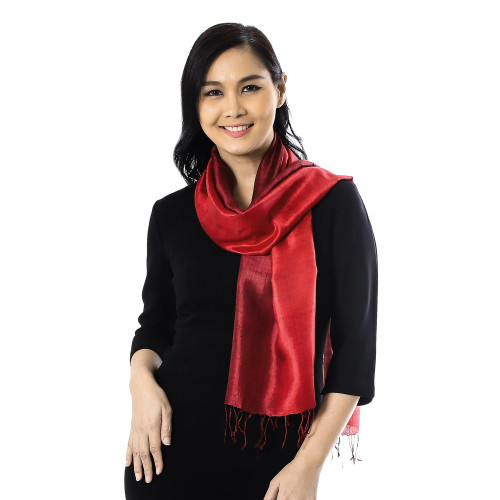 Ruby Red Tie-Dyed Handwoven Silk Scarf with Fringe 'Ruby Love'