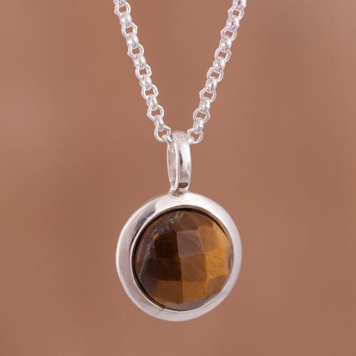 Circular Tiger's Eye Pendant Necklace from Peru 'Circular Treasure'