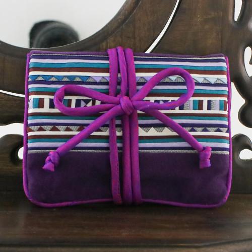 Hill Tribe Applique Jewelry Roll in Purple from Thailand 'Lisu Jewels'