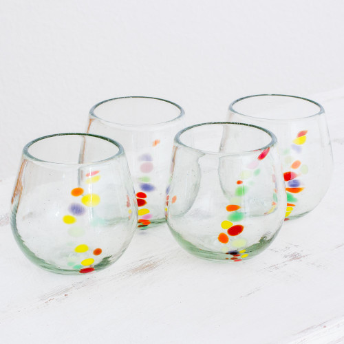Hand Blown Recycled Colorful Dot Stemless Glasses Set of 4 'Happy Trails'