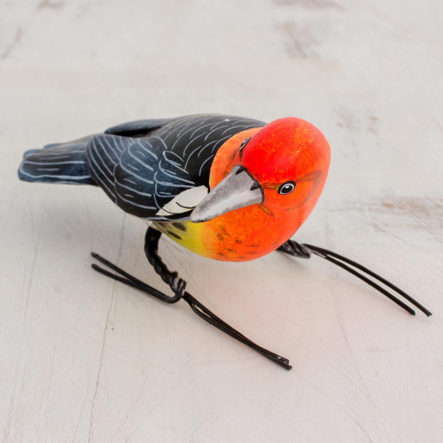 Painted Ceramic Figurine of a Woodpecker from Guatemala 'Woodpecker'