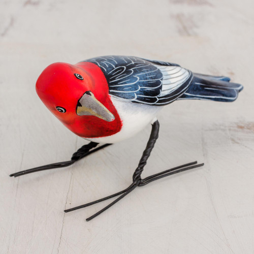 Ceramic Figurine of a Red Headed Woodpecker from Guatemala 'Red Headed Woodpecker'
