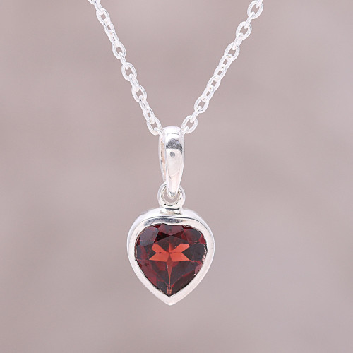 Sterling Silver Red Garnet Flaming Heart Pendant Necklace 'Flaming Heart'