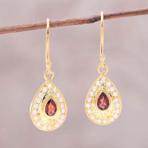 Garnet Gold Plated Sterling Silver Teardrop Dangle Earrings 'Dazzling Fire'