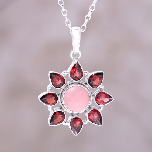 Pink Opal and Garnet Sterling Silver Flower Necklace 'Glowing Flower'
