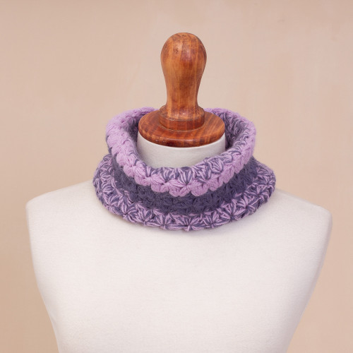 Hand Knit Pink and Purple Baby Alpaca Neck Warmer 'Cozy Day in Violet'