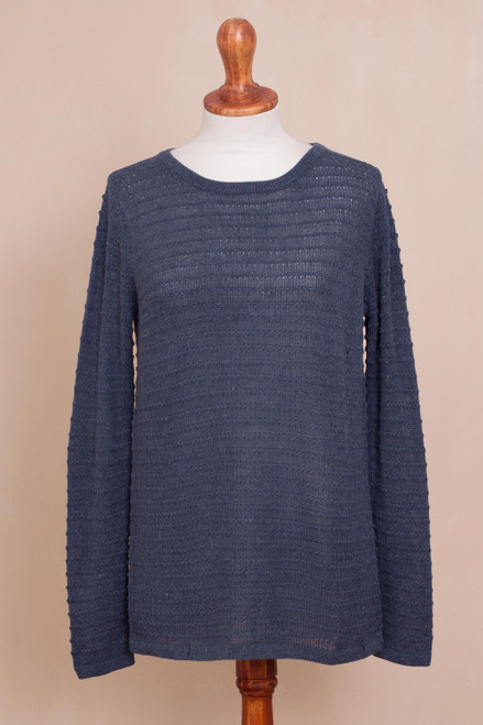 Cotton Blend Sweater in Azure with Line Patterns from Peru 'Azure Lines'