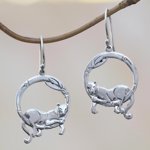 Bali Sterling Silver Lounging Panther Circle Dangle Earrings 'Lounging Panther'