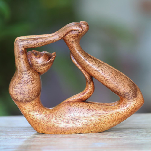 Suar Wood Sculpture of a Cat in Dhanurasana Yoga Pose 'Dhanurasana Kitty'