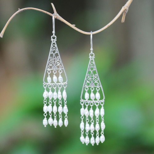 Cultured Pearl Chandelier Earrings Crafted in Bali 'Temple Snowfall'