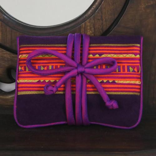 Lisu Hill Tribe Rayon Blend Applique Jewelry Roll 'Precious Lisu'