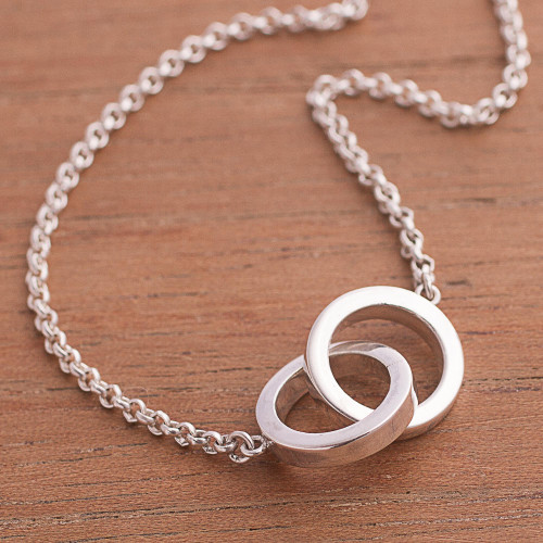 Sterling Silver Pendant Necklace Crafted in Peru 'Eternal Union'