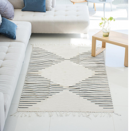 Handwoven Wool Zapotec Area Rug from Mexico 4x7.5 'Lines of Life'