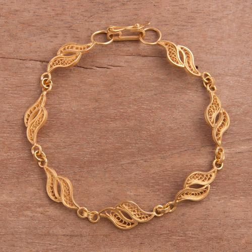 Gold Plated Sterling Silver Filigree Waves Link Bracelet 'Flowing Waves'
