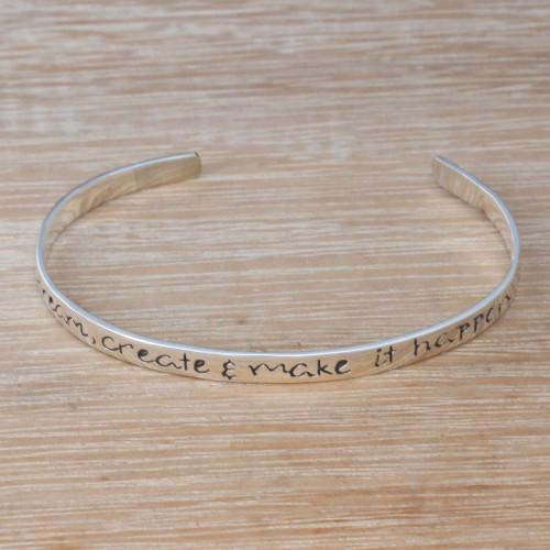 Inspirational Sterling Silver Cuff Bracelet from Bali 'Make it Happen'