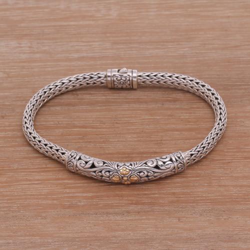 Gold Accent Sterling Silver Pendant Wristband Bracelet 'Elegant Twining'