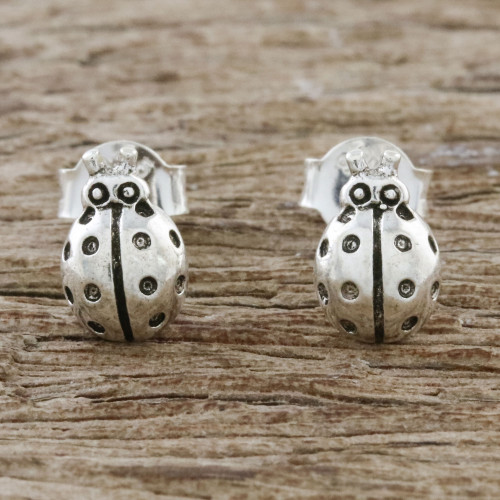 Sterling Silver Ladybug Stud Earrings from Thailand 'Cute Ladybugs'