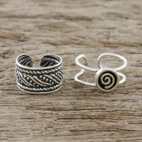 Spiral Motif Sterling Silver Ear Cuffs from Thailand 'Flow of the Wind'