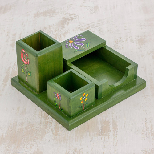 Green Pinewood Desk Organizer with Hand Painted Flowers 'Vivid Flowers in Green'