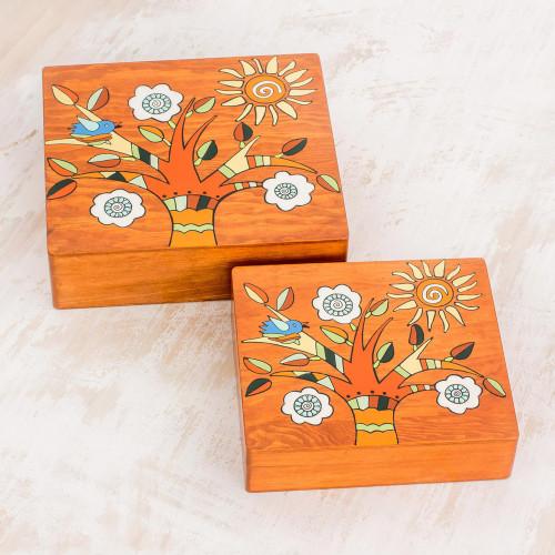 Square Pinewood Flowering Tree Decorative Boxes Pair 'Glorious Tree'