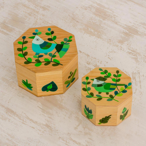 Pair of Pinewood Decorative Boxes with Bird Motifs in Green 'God's Nature in Green'