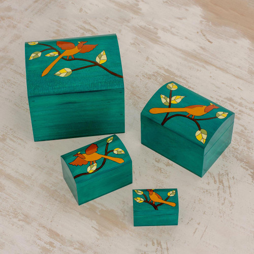 Bird Motifs Pinewood Decorative Boxes in Green 4 'Between Branches'
