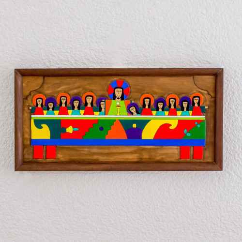 Hand-Painted Pinewood Relief Panel of the Last Supper 'Holy Supper'