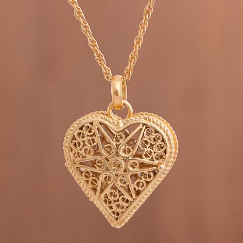 Heart Shaped Gold Plated Filigree Locket Necklace from Peru 'Splendid Fantasy'