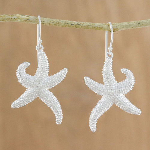 Sterling Silver Starfish Dangle Earrings from Thailand 'Dancing Starfish'