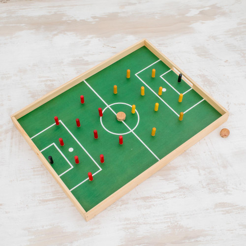 Handcrafted Wood and Cork Desktop Soccer Game from Guatemala 'Desktop Soccer'