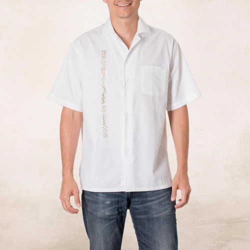 Embroidered Men's Cotton Guayabera Shirt from El Salvador 'Salvadoran History'