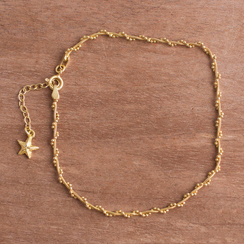 18k Gold Plated Sterling Silver Starfish Anklet from Peru 'Moonlit Starfish'