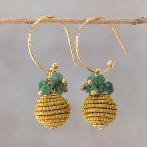 18k Gold Plated Quartz and Golden Grass Earrings from Brazil 'Magnificent Gleam'